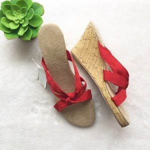 Shoes - Red Ribbon Cork Wedges Heels Size 7